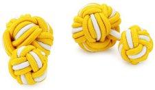Teroon Unisex-Manschettenknopf Seidenknoten gelb weiß (610047)