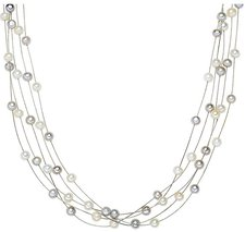 Valero Pearls Süßwasser Perlkollier weiß grau (400320)