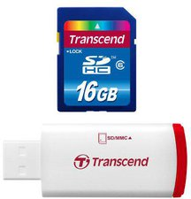 Transcend Premium SDHC 16GB Class 6 with P2 Card Reader (TS16GSDHC6-P2)