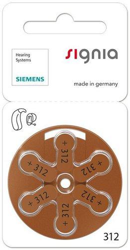 Siemens Typ s312 Zink-Luft Hörgeräte-Batterien (5 St.)