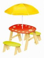 House of Toys Picknicktisch Blume mit Sonnenschirm