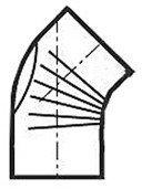 Muldenthaler Bogen gerippt 45° mit Reinigungsöffnung FAL pu weiß Ø 110 mm (2BG45110RÖW)