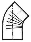Muldenthaler Bogen gerippt 45° ohne Reinigungsöffnung FAL pu weiß Ø 130 mm (2BG45130W)
