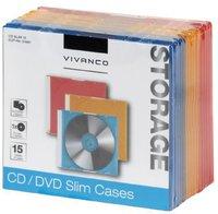 Vivanco 31697 CD/DVD Slim Case 3-farbig (15er Pack)