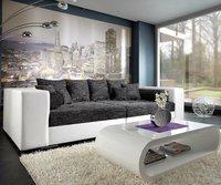 DeLife XXL Sofa Marlen weiß-schwarz (300 x 140 cm)