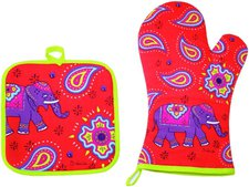 AS Company Topflappen und Ofenhandschuh Set Kashmir Elefant rot