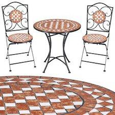 Deuba24 Gernika Mosaik-Sitzgarnitur 3-tlg. (Eisen-Keramik)