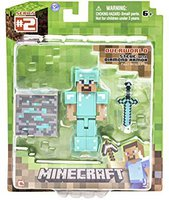 Jazwares Minecraft Overworld Diamond Steve with Diamond Armor and Diamond Ore Block