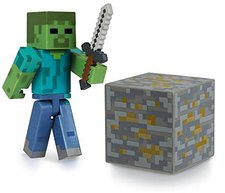 Jazwares Minecraft Overworld Zombie with Iron Sword & Iron Ore Block