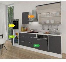 Respekta Küchenzeile Premium 280 cm Grau-Weiß (RP280HWG)