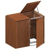 TraumGarten Mülltonnenbox Hartholz für 2 x 240 Liter Tonnen mit Klappdeckeln