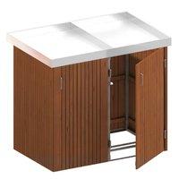 TraumGarten Mülltonnenbox Hartholz für 2 x 240 Liter Tonnen mit Pflanzschalen
