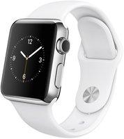 Apple Watch 38mm Edelstahlgehäuse mit Sportarmband white