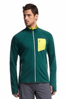 Icebreaker Men's Atom Long Sleeve Zip Pine / Chartreuse