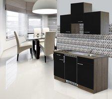 Respekta Küchenzeile 150cm schwarz Eiche York (KB150EYSC)