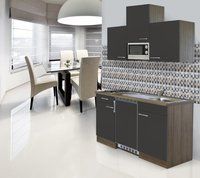 Respekta Küchenzeile 150cm grau Eiche York (KB150EYGMIC)