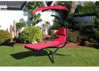 Leco Schwingliege mit Sonnendach (Stahl-Kunstfaser) rot