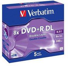 Verbatim DVD+R DL 8,5GB 240min 8x Matt Silver 5er Jewelcase