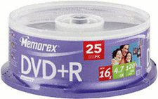 Memorex DVD+R 4,7GB 120min 16x 25er Spindel