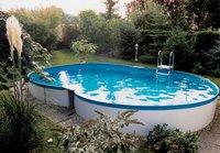 my pool Premium Achtformpool-Set 625 x 360 x 150 cm mit Sandfilter & Leiter