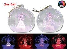 Lunartec LED-Glas-Ornamente Kugelform 2er-Set