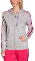 Adidas Frauen Essentials 3S Hooded Tracktop medium grey heather/bahia pink