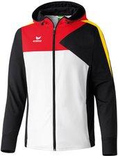 Erima Kinder Premium One Trainingsjacke mit Kapuze weiß/schwarz/rot/gelb