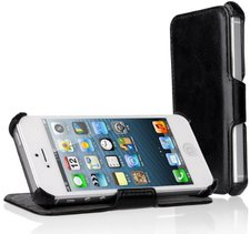 EasyAcc Protection PU Leder Flip Bumper schwarz (iPhone 5s)