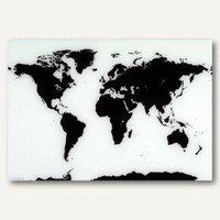 Franken Magnetische Glas-Schreibtafel Weltkarte (80x55cm)