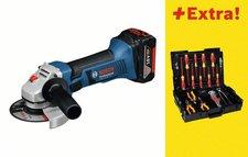 Bosch GWS 18-125 V-LI Professional (2 x 4,0 Ah + 31-tlg. Wiha-Werkzeug-Set)