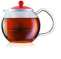 Bodum Assam Teebereiter mit Glasgriff und farbigem Deckel 0,5 L rot