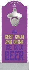 StiefelmayerContento Wandflaschenöffner Keep Calm AND Drink ICE Cold Beer lila