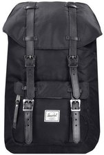 Herschel Little America Backpack black nylon/black dyed veggie tan leather (00949)