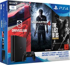 Sony PlayStation 4 (PS4) Slim 1TB +  Uncharted 4: A Thief's End + DriveClub + The Last of Us