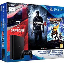 Sony PlayStation 4 (PS4) Slim 1TB +  Uncharted 4: A Thief's End + DriveClub + Ratchet & Clank