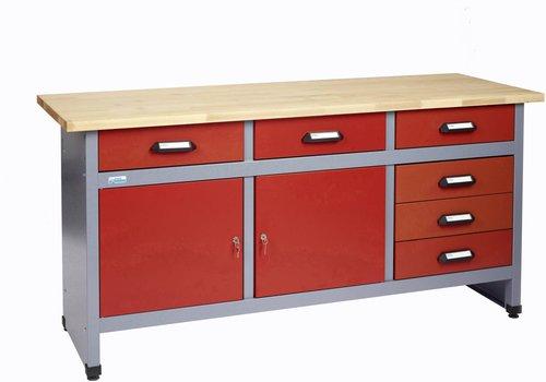 k pper werkbank 170 cm 2 t ren 6 schubladen 1217 g nstig. Black Bedroom Furniture Sets. Home Design Ideas