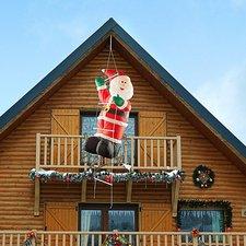 Infactory selbstaufblasender Weihnachtsmann auf Leiter (120 cm)