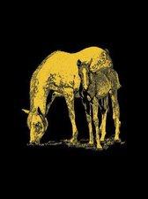 Mammut Scraper Kratzbild klein mit Rahmen Gold - Pferd und Fohlen