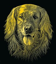 Mammut Scraper Kratzbild klein mit Rahmen Gold - Hund