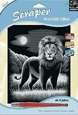 Mammut Scraper Kratzbild ohne Rahmen Silber - Löwe