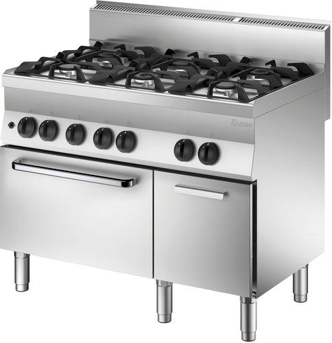 Bartscher 6 Flammen Gasherd mit Gasbackofen und neutralem Schrankelement