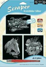 Mammut Scraper Kratzbild ohne Rahmen 3er-Set silber - Pferde