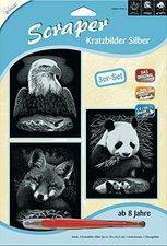 Mammut Scraper Kratzbild ohne Rahmen 3er-Set silber - Wildtiere