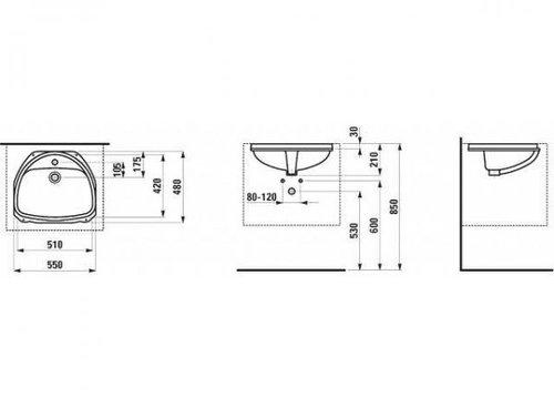 Laufen Bijou Einbauwaschtisch 55 x 48 cm (811240)
