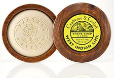 Crabtree & Evelyn West Indian Lime Rasierseife in Holzrasierschale (100 g)