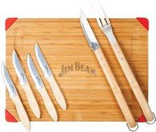 Jim Beam Schneidebrett mit Grillbesteck und Steakmesser 7 tlg.