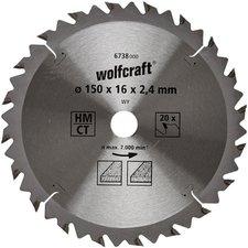 Wolfcraft HM-Kreissägeblatt 150 x 16 x 2,4 mm 20Z Serie braun (6738000)
