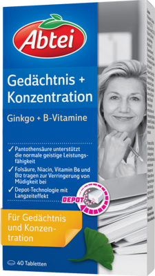 Abtei Ginkgo + Bacopa B-Vitamine Depot Tabletten (40 Stk.)