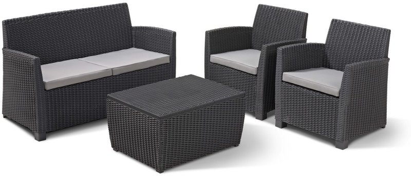 allibert corona lounge set mit kissenbox tisch im preisvergleich. Black Bedroom Furniture Sets. Home Design Ideas