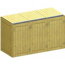 TraumGarten Mülltonnenbox Nadelholz für 3 x 240 Liter Tonnen mit Klappdeckeln